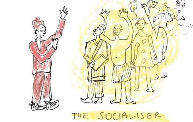 Cartoon, The Socialiser: woman speaking to a motley audience