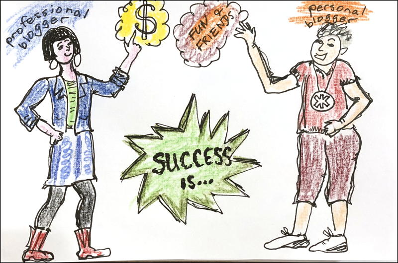 Cartoon: two bloggers point to their verdict of success, dollar