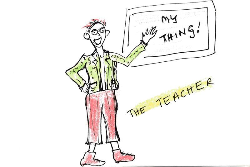 Teacher teaching about her thing; cartoon by Rachel McAlpine
