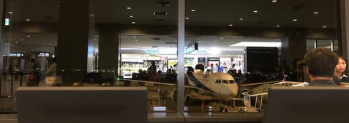 Photo from inside Narita International Airport with reflection