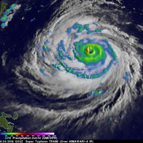 Image of the eye of Super Typhoon Trami, from NASA