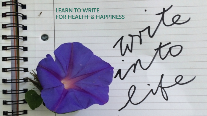 Notebook with morning glory flower and text: write into life, LEARN TO WRITE FOR HEALTH & HAPPINESS