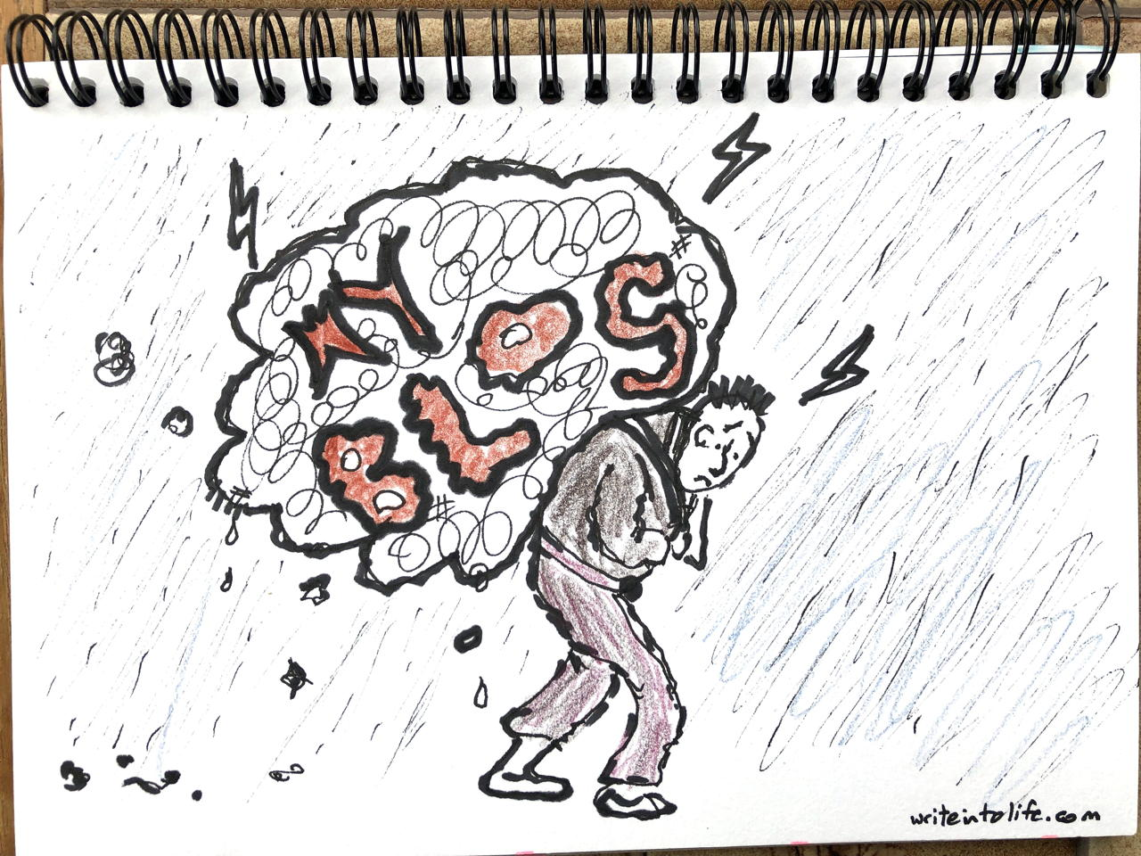 drawing of a sad man trudging through rain carrying a huge blog on his back