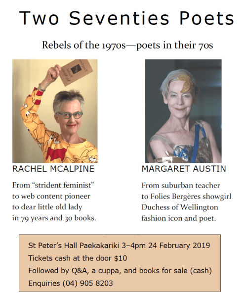 Poster for poetry reading in Paekakariki, NZ: two 70s poets. Rebels in the 1970s. Poets in their 70s.
