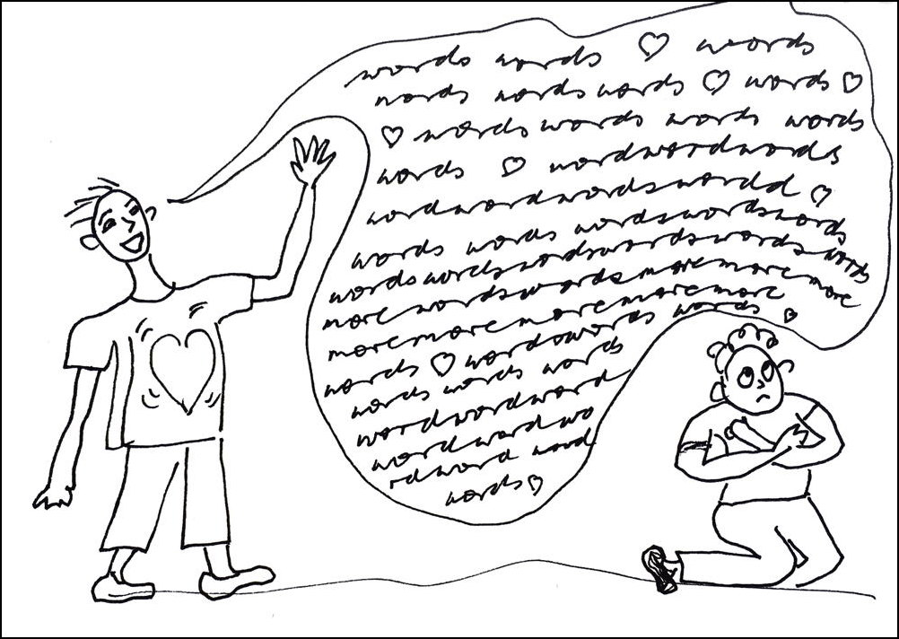 Cartoon of lover crushing the beloved with words