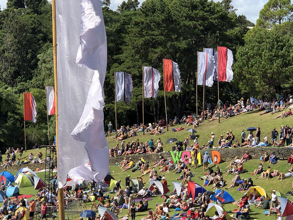 Festival goers sitting on a sloping lawn while flags fly high.