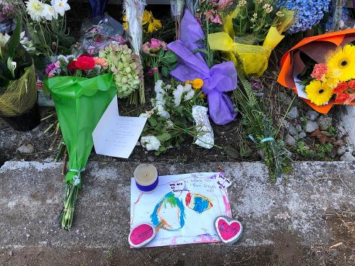 """Messages of love and support outside the New Plymouth mosque. The chldren write, """"We are so sorry."""" """"You belong here"""" """"You are home."""""""
