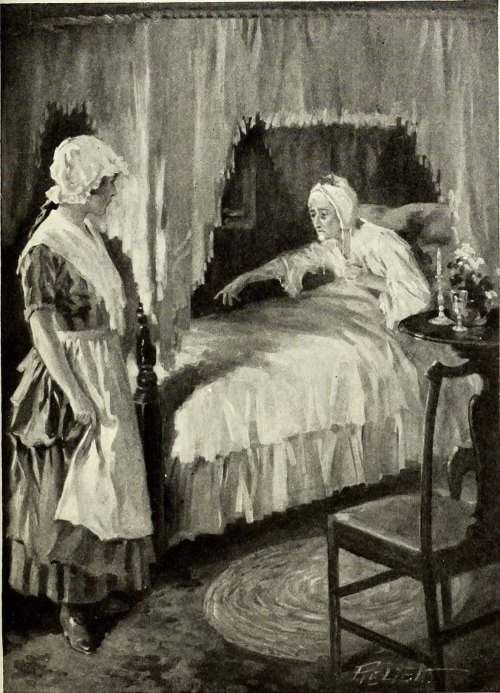 Young woman attends to bedridden old woman. Illustration from St Nicholas serial circa 1873.