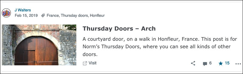 Screenshot of blog post by J Walters. Thursday Doors — Arch