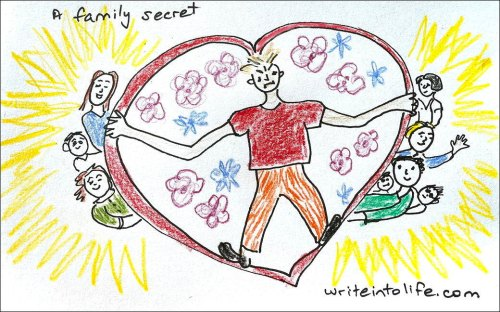 Cartoon of woman in a heart-shape shielding her beloved family