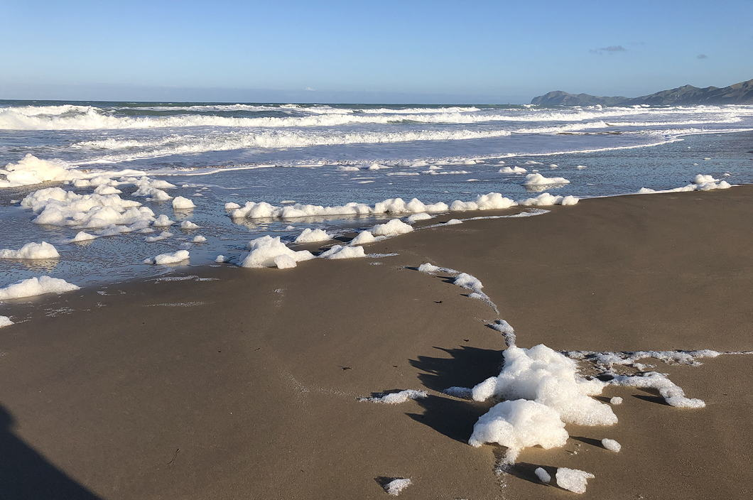 White foam on black sand. Lonely perfect beach.