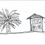 Drawing of a fertile and flourishing palm tree beside a decrepit old house.