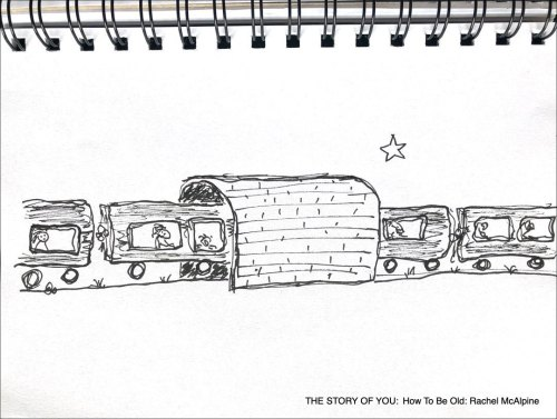 Cartoon of train going through tunnel. THE STORY OF YOU: How To Be Old: Rachel McAlpine