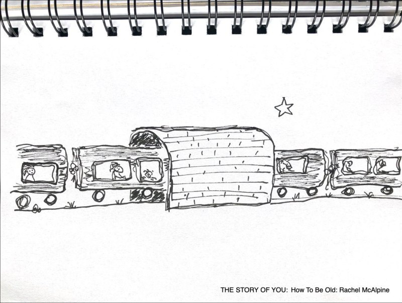 Cartoon train going through tunnel. THE STORY OF YOU: How To Be Old: Rachel McAlpine