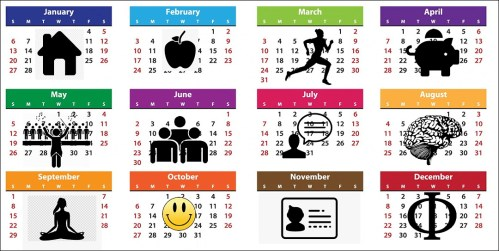 1-year calendar overlaid with icons for home, health, exercise, finances, hobbies, people, voice, brain, mindfulness, happiness, identity and philoosophy
