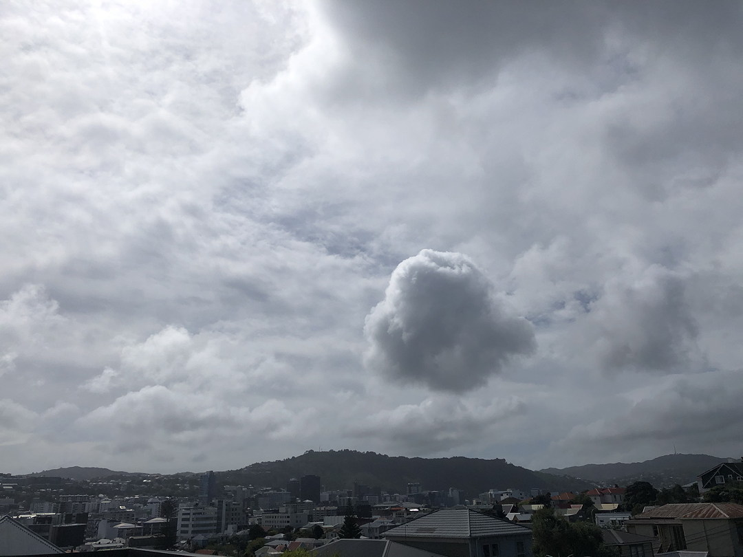 photo of strange clouds over Wellington city