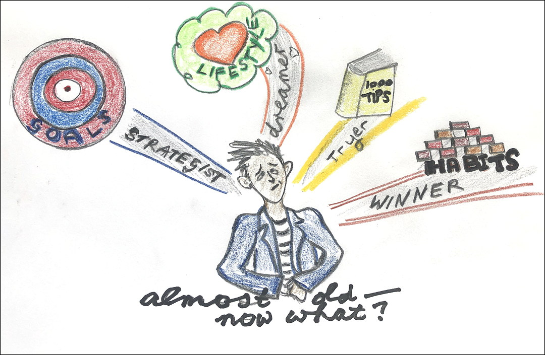 drawing of puzzled person comparing goals, lifestyle, tips and habits. Caption Almost old—now what?