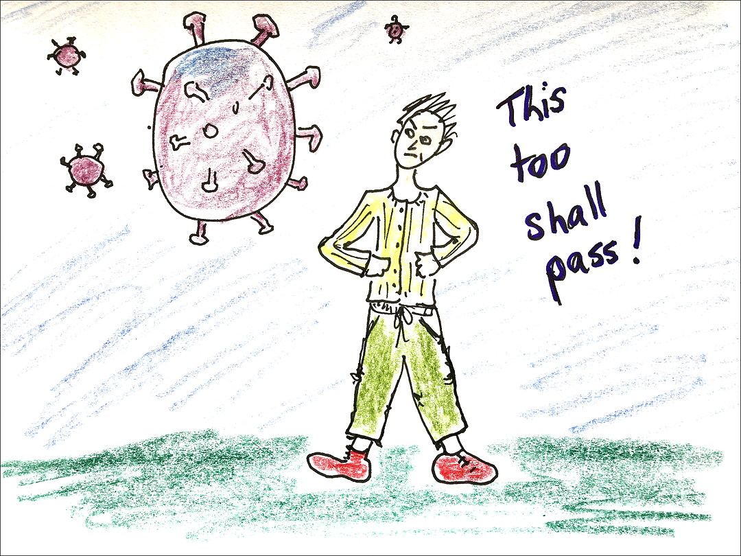 "Cartoon: woman stands up to coronoavirus, words ""This too shall pass"""