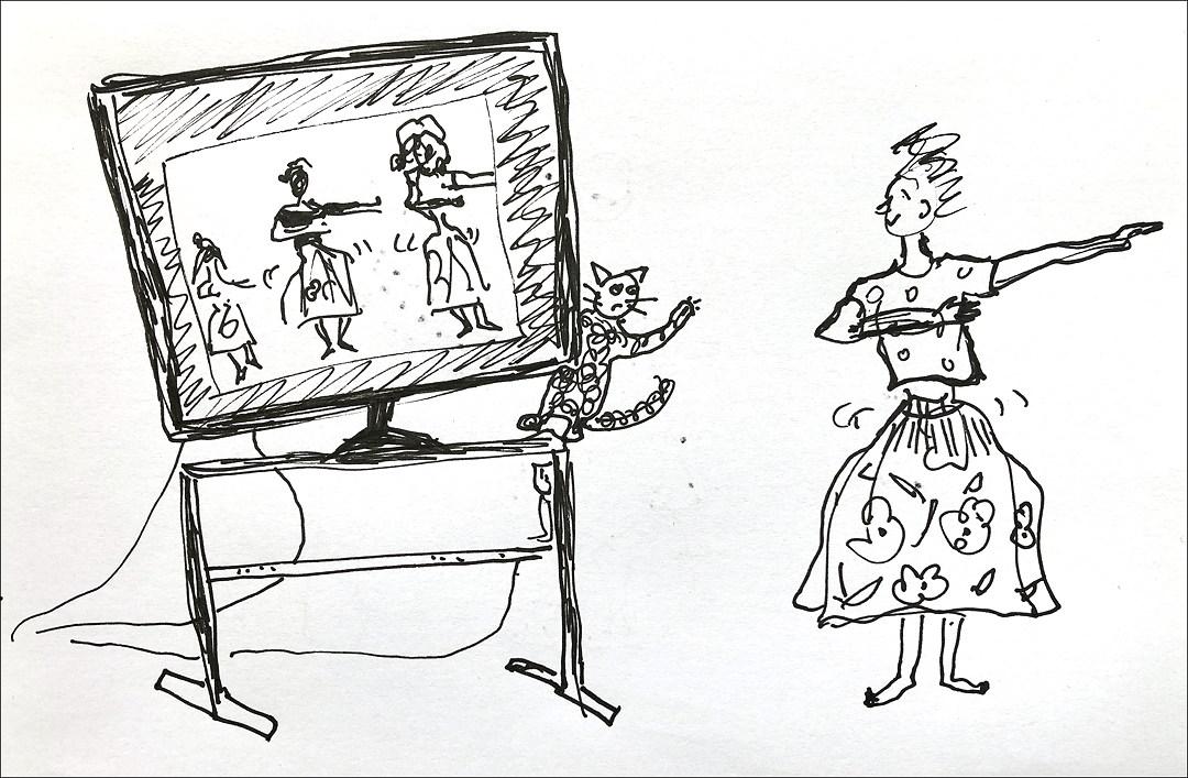 drawing of woman dancing hula while watching a hula video