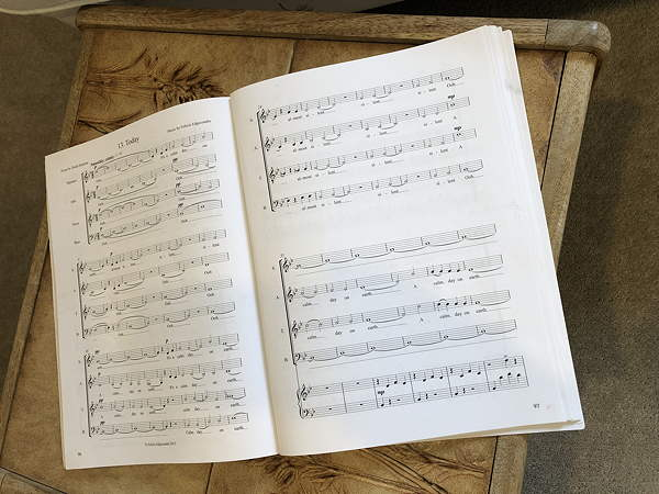"photo of musical score for NZ poem ""Today"", music by Felicia Edgecombe. In Shaky Places."