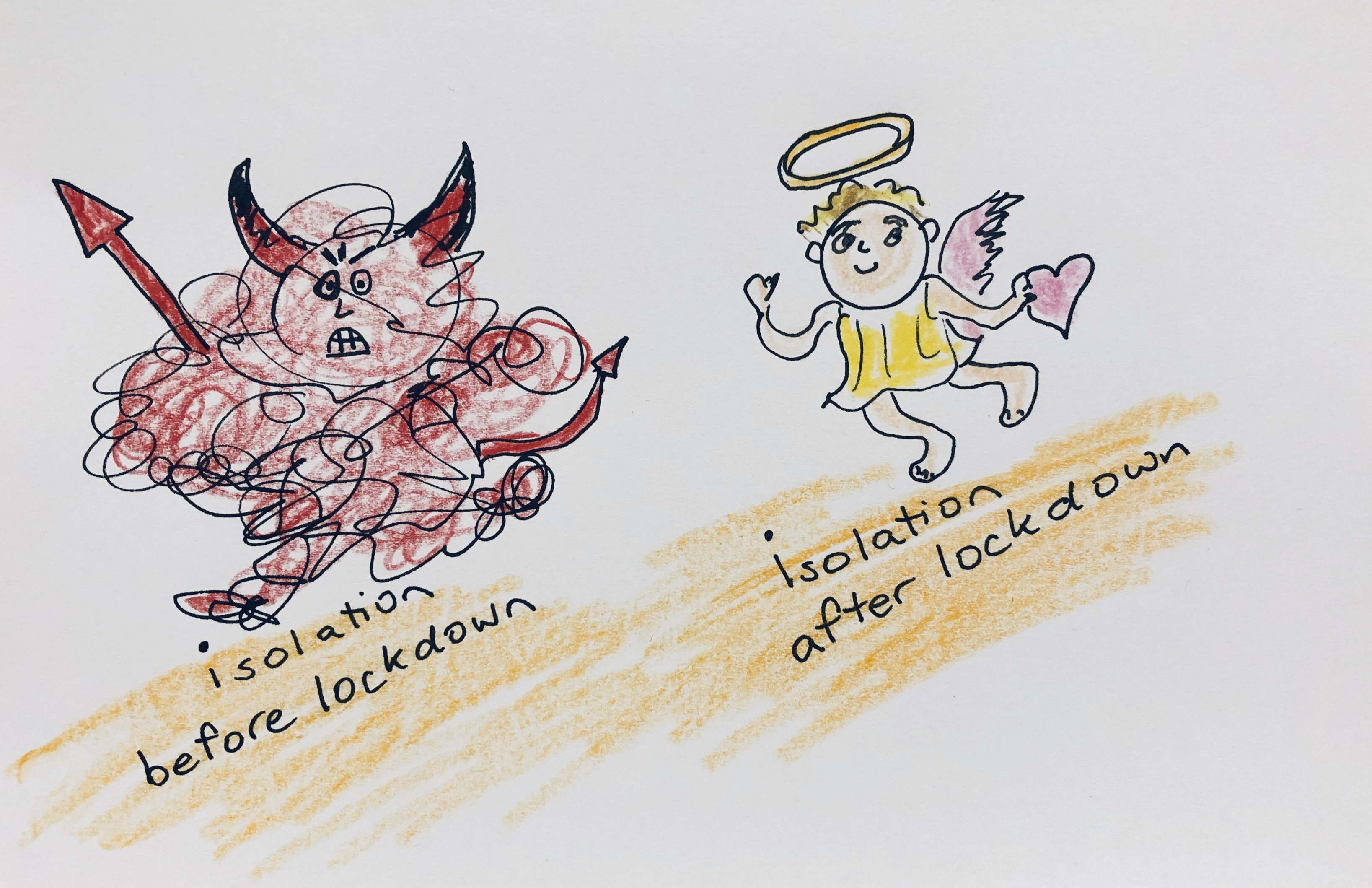 cartoon: isolation before lockdown is a scary red devil, after lockdown is a little angel with heart and halo
