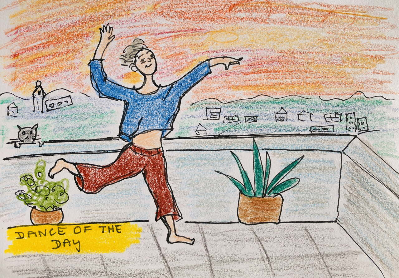 drawing of woman dancing on a deck with sunrise and city behind