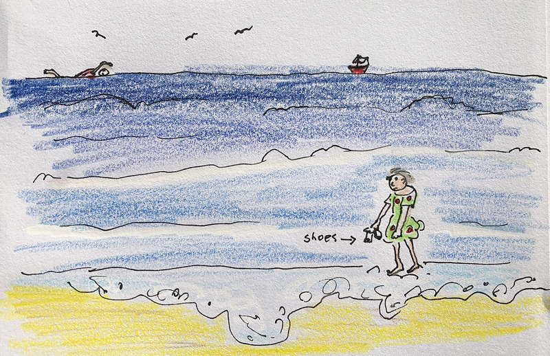 drawing of seaside. In the distance someone swimming. On the beach, woman paddling.