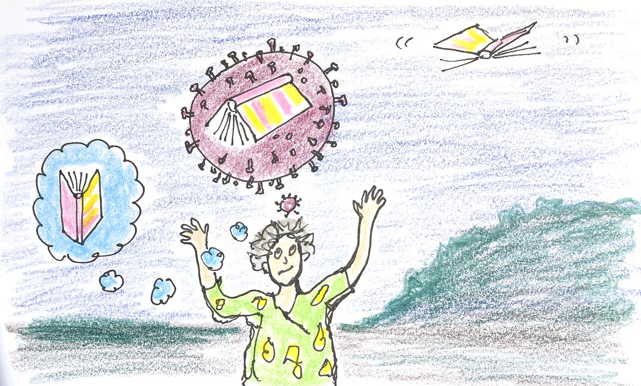 drawing of woman thinking of a book, book in a coronavirus, and book flying away like an insect
