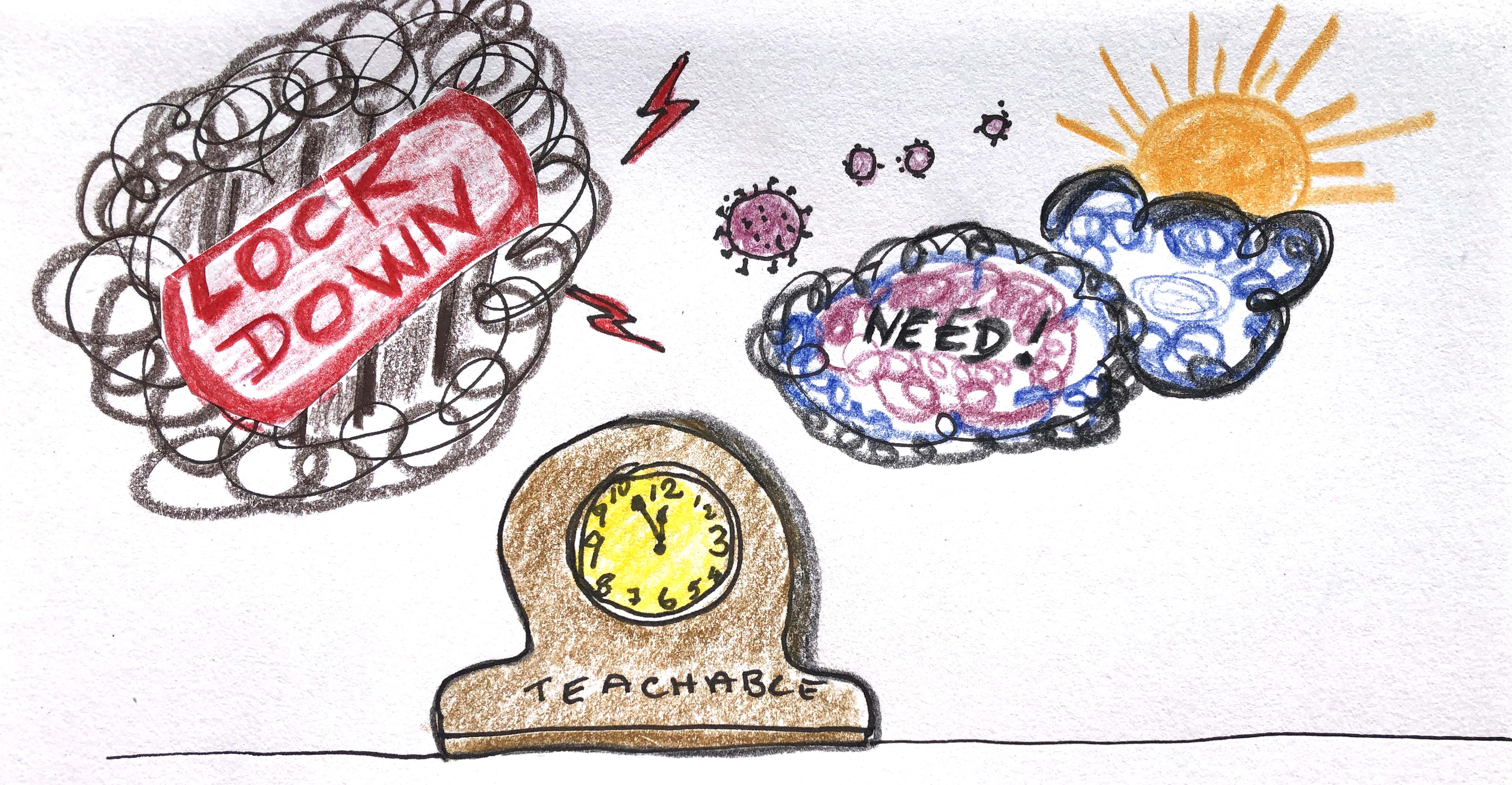 Clock says 5 to 12 beneath a lockdown cloud and a NEED cloud. is a teachable moment