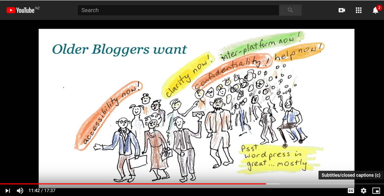 Older Bloggers want: drawing of crowd of people crying for accessibility and clarity