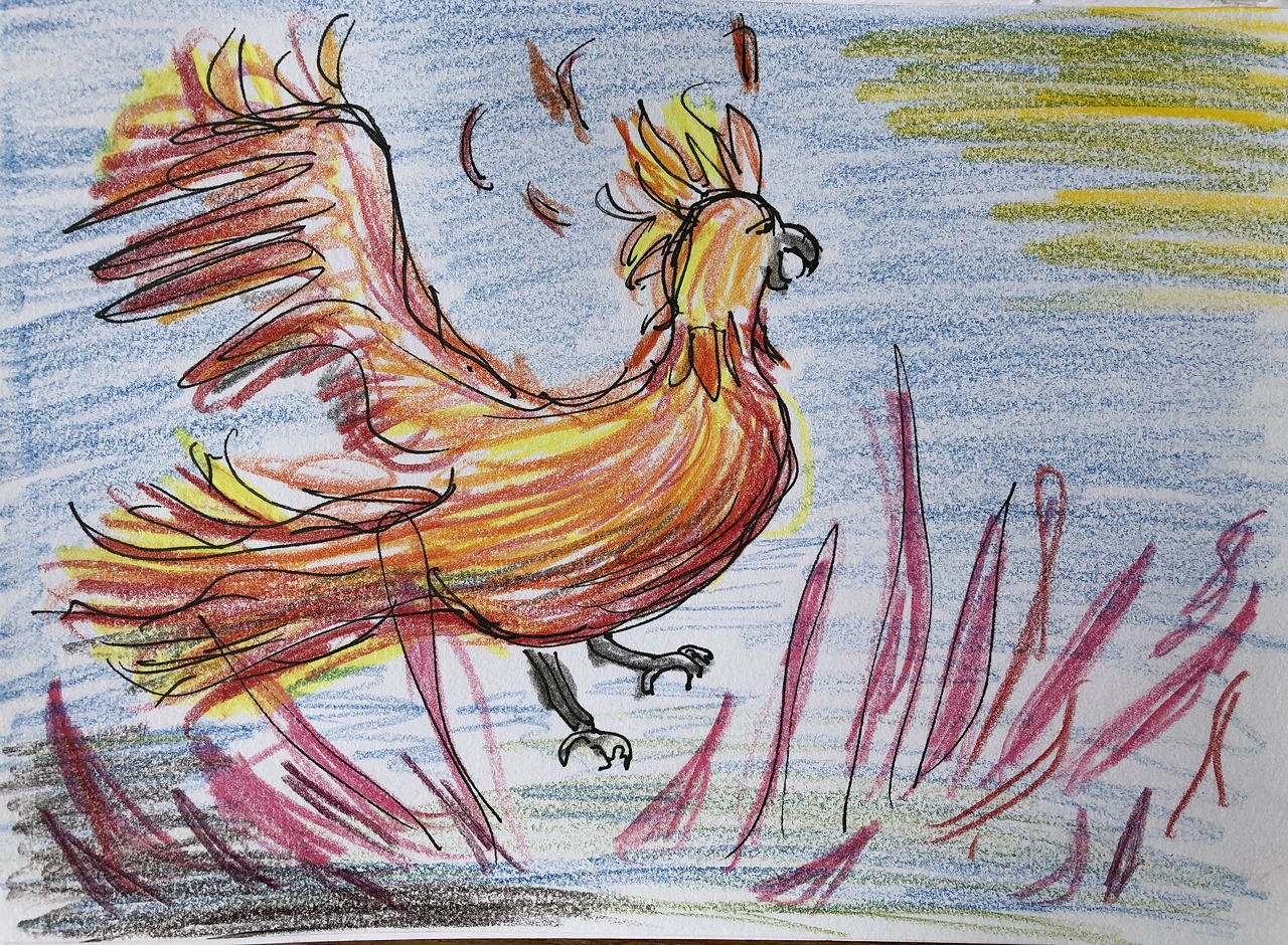 drawing of phoenix rising from flames into sunlight