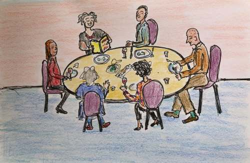 """Drawing of 6 people at dinner, one reading from """"How To Be Old"""" poetry book"""