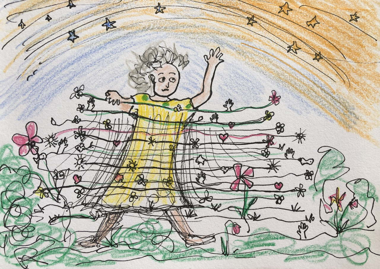 drawing of worried woman sheltering behind a wire wall of hearts and flowers under the Milky Way