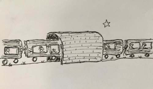 drawing of a passenger train going through a tunnel