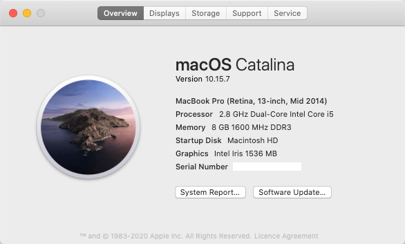 screenshot of About This Mac: macOS Catalina, Version 10.15.7, McBook Pro (retina, 14-inch, mid 2014), Memory 8 GB 1600 MHz DDR3, Startup Disk Macintosh HD, Graphics Intel Iris 1536 MB