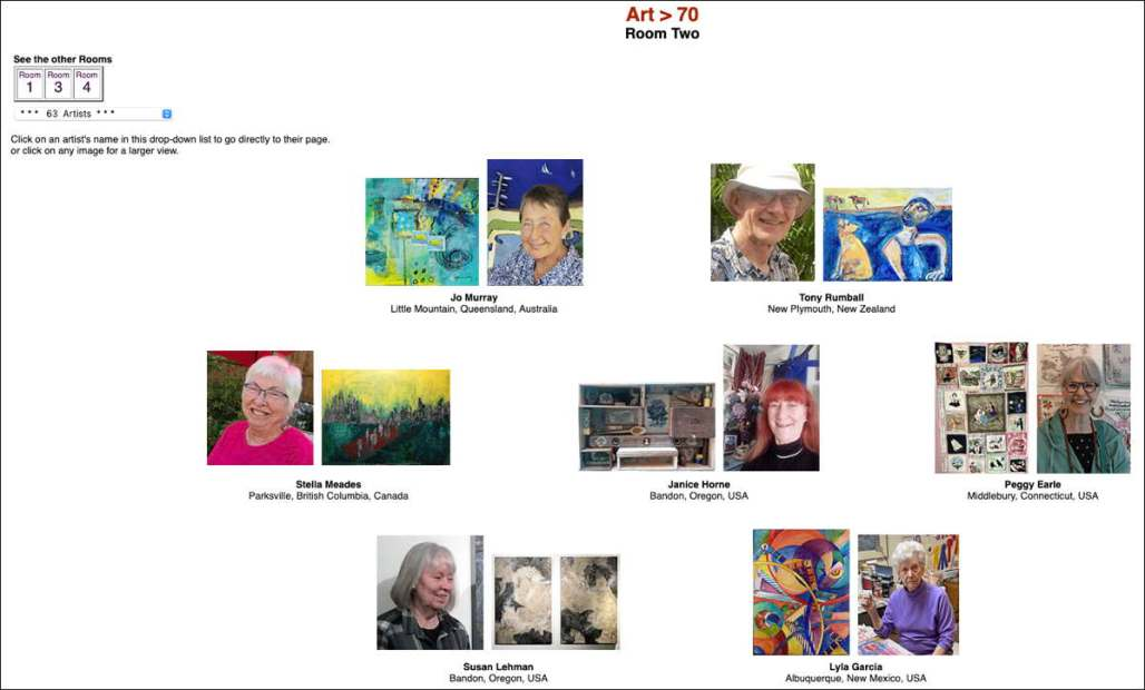 Screenshot: portraits of 7 artists over 70 with one piece of their work