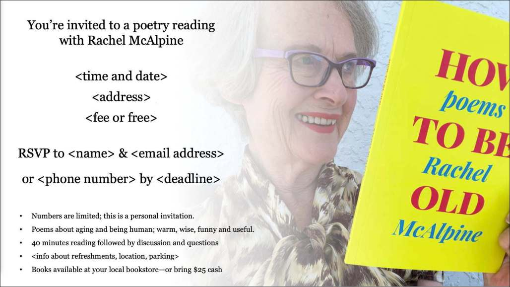 Draft flyer for a house concert poetry reading: Rachel McAlpine holding a book, text on left