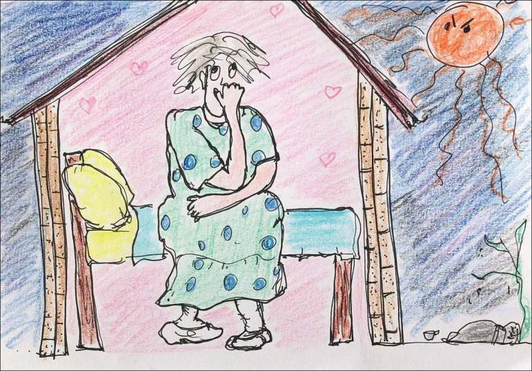 Sketch of worried old woman sitting on a bed in her house. Outside a fierce sun frowns at her. Homeless person sleeping under a tree.