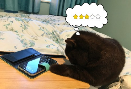Cat playing with iPhone. Thought bubble shows her giving it 3 stars.