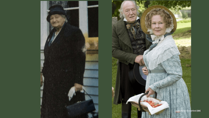 Two photos about ageist language. One shows a mature woman in a dark coat and hat carrying gloves and a black handbag. The other shows a mature woman in an old fashioned bonnet trimmed with lace and tied with a ribbon, and a dainty pale blue flowered dress with a lace collar. She is carrying a basket of strawberries.