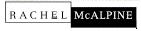 Black and white logo of RACHEL McALPINE in very small format