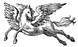 Woodcut of Pegasus, the winged horse, 1715