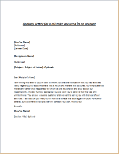 Apology Letter For Mistake Occurred In An Account
