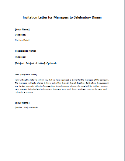 Invitation Letter For Managers To