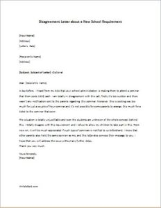 Disagreement Letter about a New School Requirement | writeletter2.com