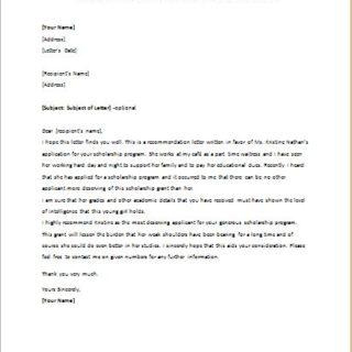 Reference Letter For Student Applying For Scholarship | Best