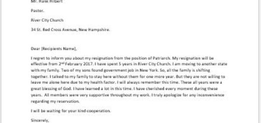 church resignation letter