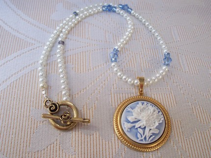 Carnation cameo necklace by JaneGarbini, $16