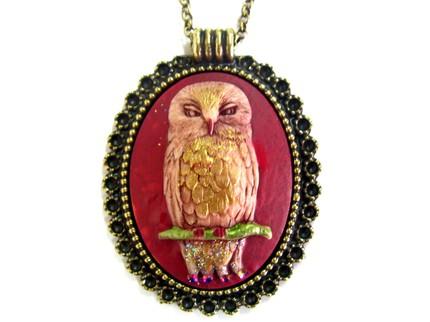 Red owl and cameo necklace by daliadaliak, $18