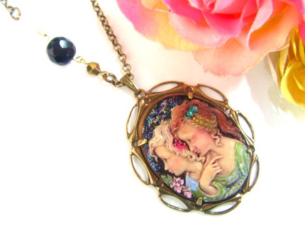 Handpainted Victorian sisters/friends cameo necklace by daliadaliak, $17.99
